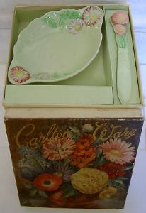 Carlton Ware Small Butter Dish and Knife - Pyrethrum - Boxed Gift Set